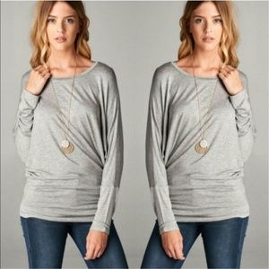 Long Dolmen sleeve round neck gray tunic top