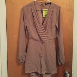 Taupe Open Back Romper NWT