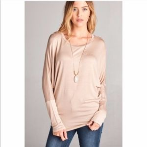 Long Dolmen sleeve round neck tunic top Taupe
