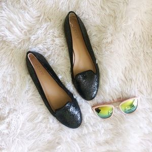 J.CREW black glittered Darby loafer flats