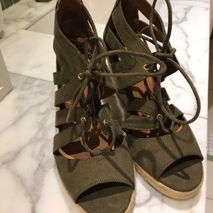Army Green Summer Wedges