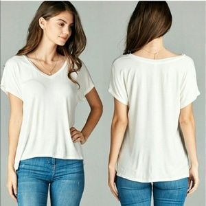 V neck short dolman sleeve tee shirt top white