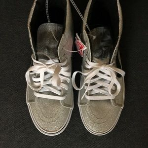 d3f97460edf991 Vans Shoes - BRAND NEW Silver Hightop Vans   Shiny