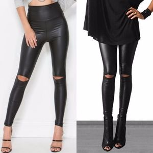 LAST ONE SALE Black Vegan Leather Hi-Waist Legging