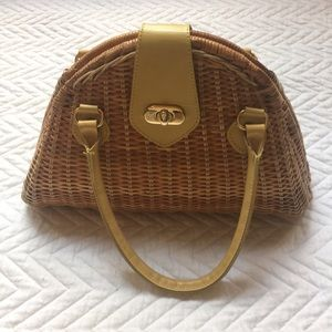 Kate Landry Straw and Leather Bag