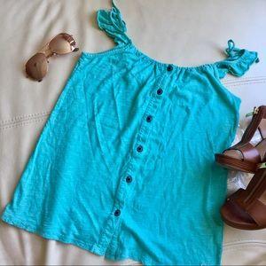 🍍2for $10! Roxy XL junior Tiffany blue ruffle top