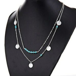 5 for $25 Two Layer Silver Color Necklace