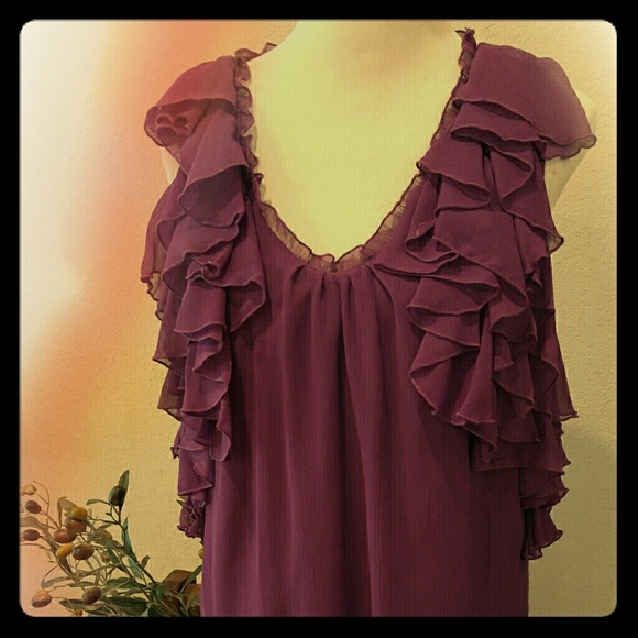 go international Dresses & Skirts - Purple ruffled mini dress