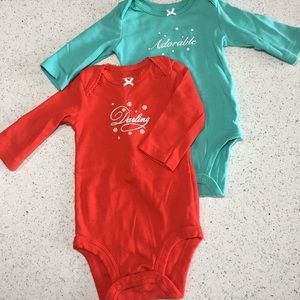 Carter's Long Sleeve Onesies (3 months) -Two
