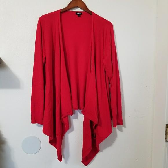 59% off torrid Sweaters - Torrid Solid Red Waterfall Cardigan Plus ...
