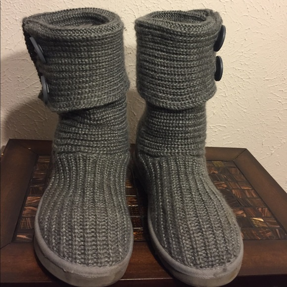 dd9db6a27fd LAMO UGG grey blue sheerling knitted button boots