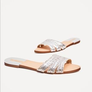 Zara Silver weaved slides (NEW)