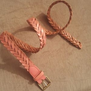 J.CREW braided coral pink leather belt sz XS/S