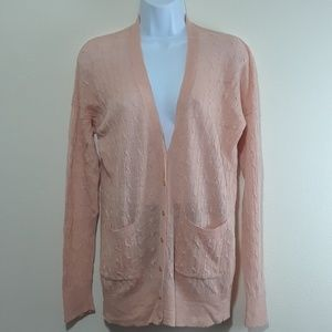 J. CREW SZ M LINEN CABLE-KNIT CARDIGAN SWEATER
