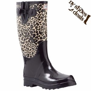 "Women 14"" Leopard Design Rubber RainBoots"
