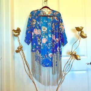 Fringed kimono top