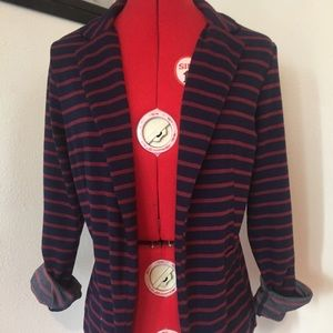 Navy and red striped blazer