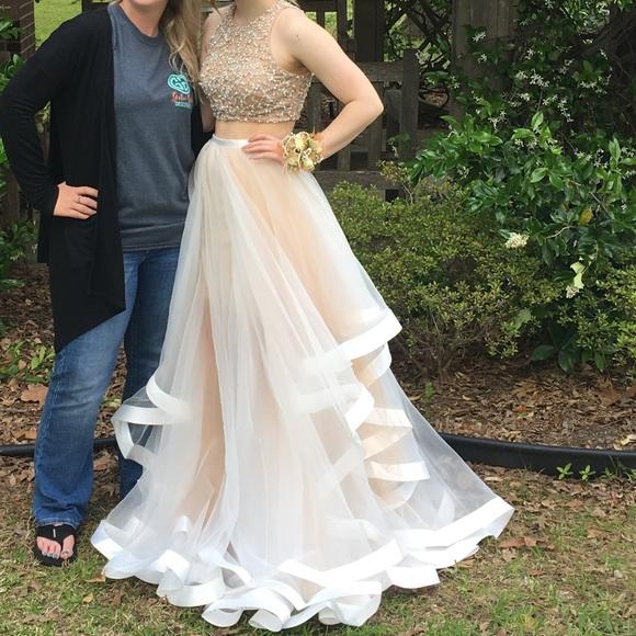 Dillards Dresses Two Piece Whitecream Poofy Prom Dress Poshmark