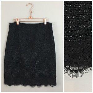 Coldwater Creek Black Metallic Lace Hem Midi Skirt