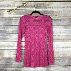 DNA Couture Pink Lace Mesh Sheer Layering Shirt L