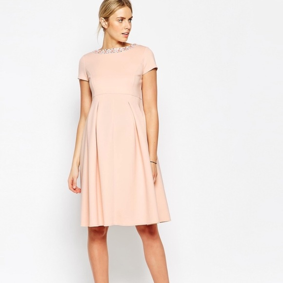 d198f00b21866 ASOS Maternity Dresses | Peach Embellished Skater Dress | Poshmark