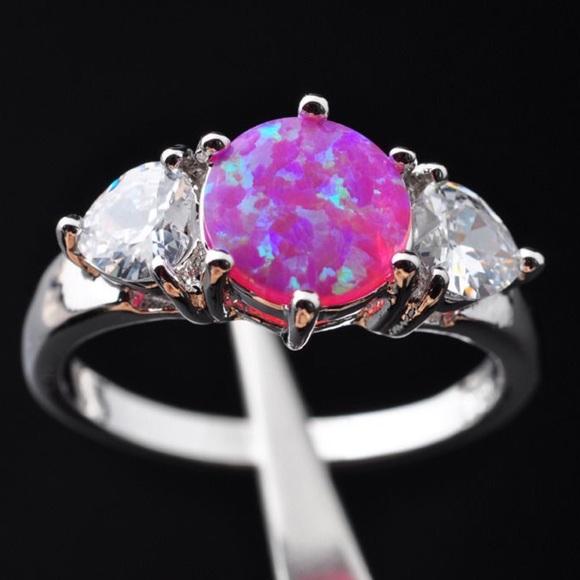 d14b1040d Jewelry | Hot Pink Fire Opal Swarovski Crystal Trinity Ring | Poshmark