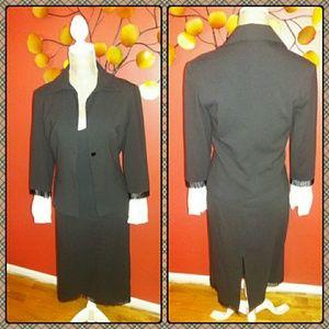 Vintage Mango Beaded Chocolate Brown Dress Suit
