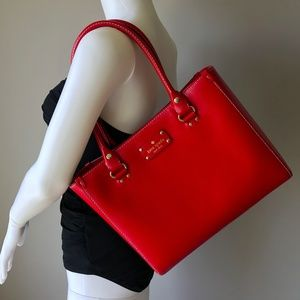 Kate Spade Red Leather Wellesley Quinn Tote