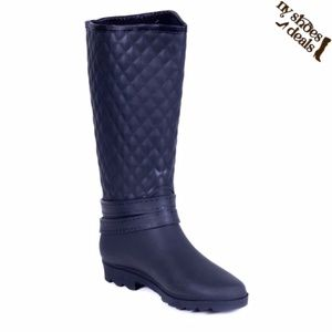 Women Quilted Rider Blk Rubber Rain Boots RB-1904