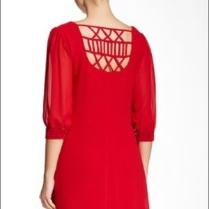 Want & Need Lattice Back Shift Dress in Deep Red