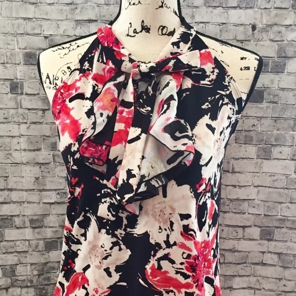 Anne Klein Tops - Anne Klein Floral Print Ruffle Front Blouse S New