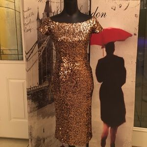 French connection spiegal sequin gold dress size 0