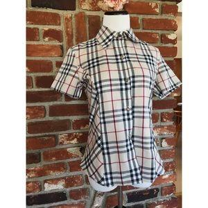 Burberry Plaid Button Down Short Sleeve Blouse L