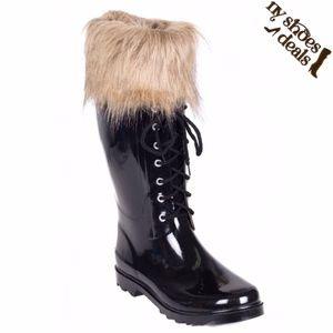 Women Faux Fur Cuff & Laces Black Rubber Rainboots