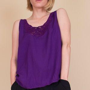 Vintage purple bohemian floral sleeveless tank top