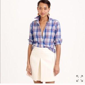 J. Crew Textured Plaid Cotton Button Down Shirt