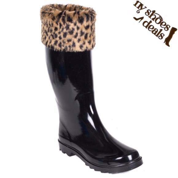 21561cf1f532 Women Leopard Cuff Black Rubber Rain Boots RB-1801