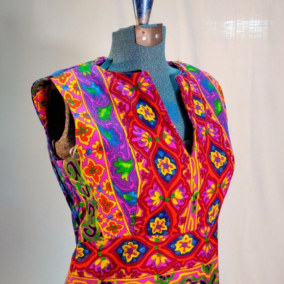 Vintage 1970s handmade multi color maxi dress