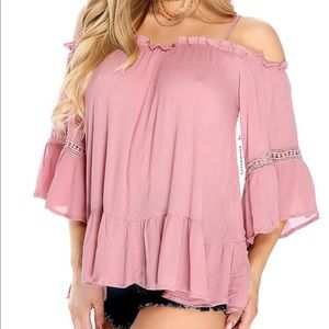 Mauve Pleated Ruffled Shoulder Cut Out Top
