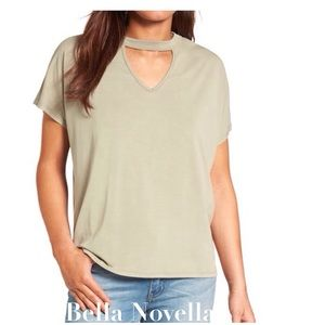 Tops - Dillon Dusty Olive Cutout Tee