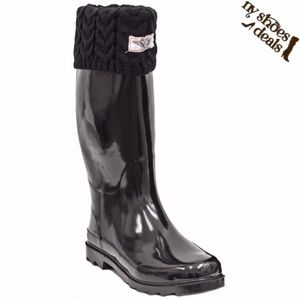 Women Black Sock Cuff Rubber Rain Boots Wellies