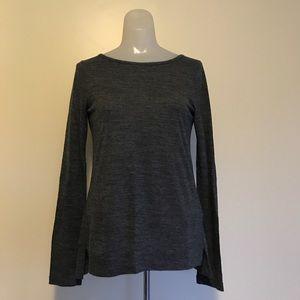 Madewell Long Sleeve Side Slit Gray Top