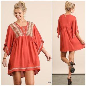 ❗️CLOSING SALE❗️Rust Embroidered  Boho Dress