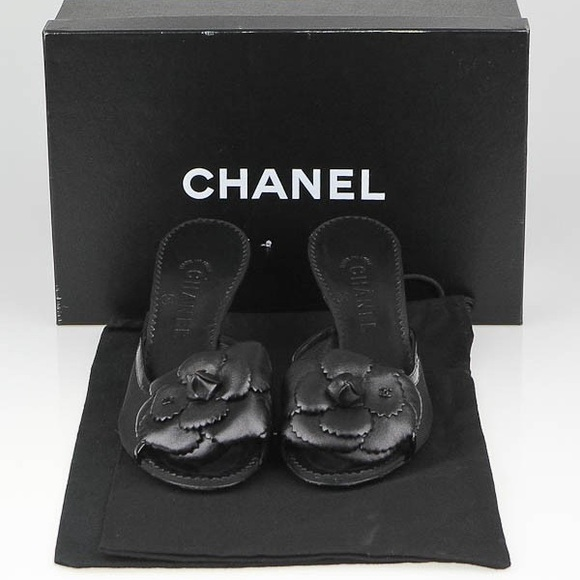 CHANEL Shoes - Chanel Black Camellia Flower Mules