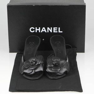 Chanel Black Camellia Flower Mules