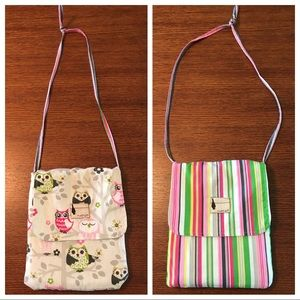Flipped Bird reversible purse stripes & owl print