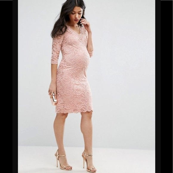 7f2f33ff9cd ASOS mamalicious maternity lace dress blush sz S. M 5975ecc536d594f74e070df1