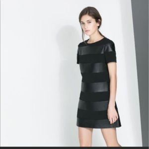Zara Black Faux Leather Dress - Size Extra Small