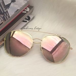 Accessories - Fire 1 Rose Gold Oversized Mirrored Sunglasses