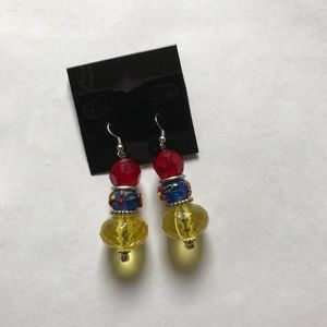 Fashion Jewelry, Earrings, Large beads, Red Blue Y